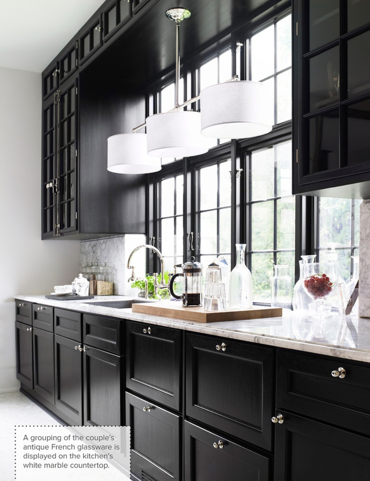 Siyah mutfak dolaplar dekorasyon for Black and white contemporary kitchen