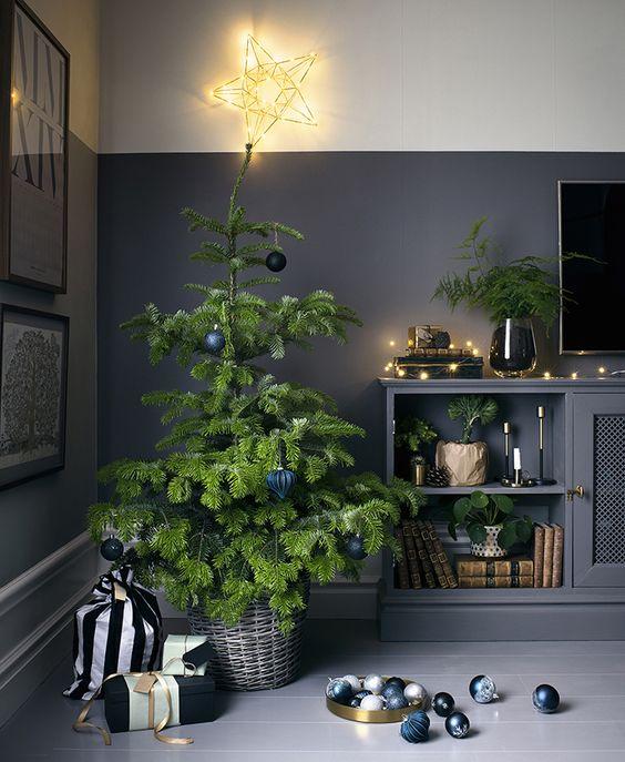 Sepet içindeki noel ağacımız ve tek renklere sahip hediyelerimizle modern bir ağaç tasarımı yapabiliriz.